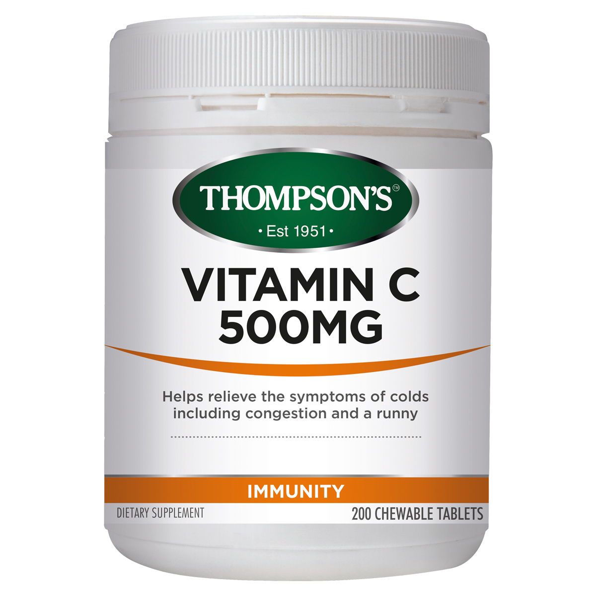 Thompsons Vitamin C 500mg 200 Chewable Tablets