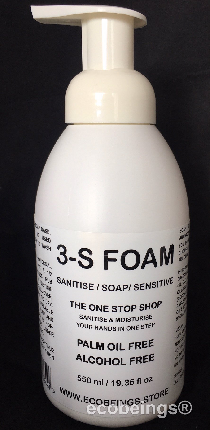 EcoBeings Hand Sanitiser 550ml (limit 4 per order as we recommend you purchase refill)