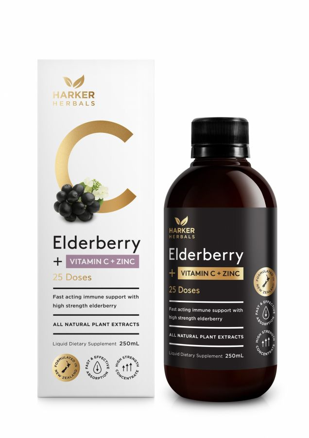 Harker Herbals Vitamin C Elderberry + Zinc 250ml