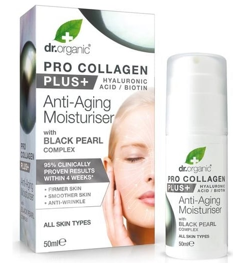 Dr Organic Pro Collagen Plus Anti Aging Moisturiser with Black Pearl Complex 50ml