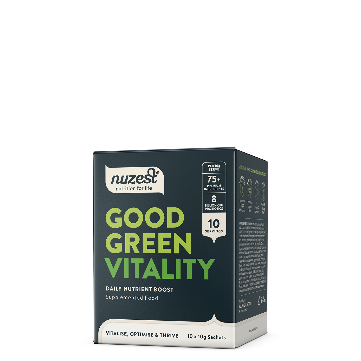 NuZest Good Green Vitality 10 x 10g Sachet Box